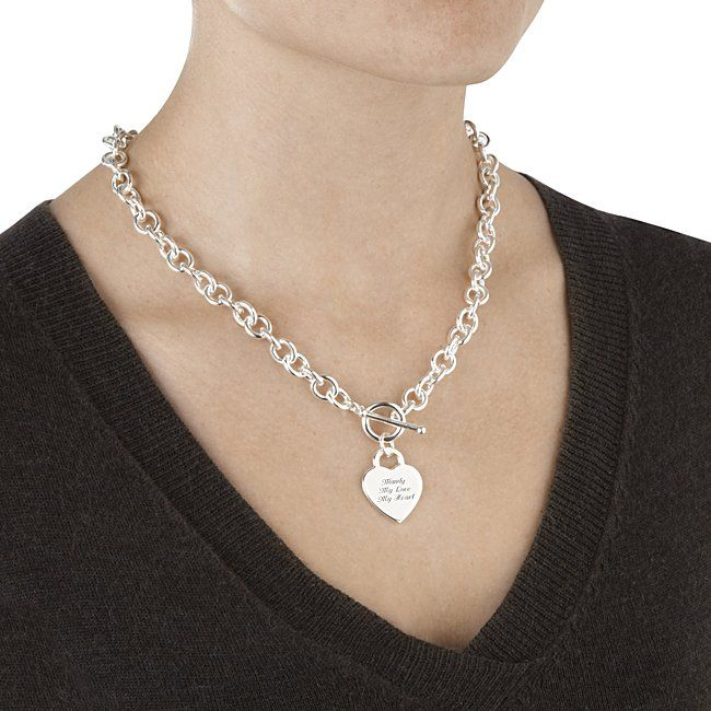 Classic Padlock Heart Toggle Necklace