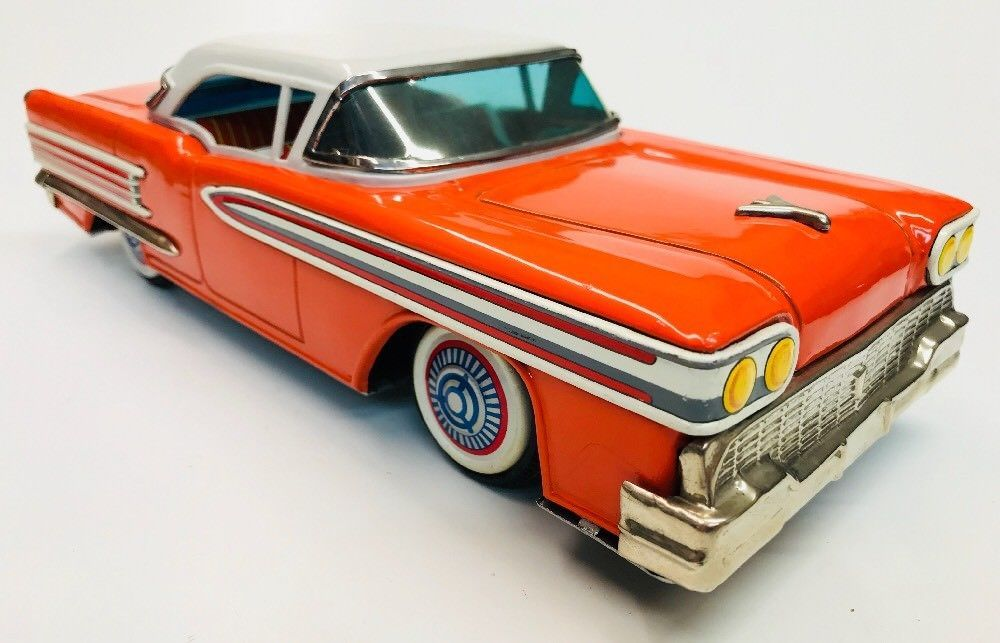 """Excellent 1958 Oldsmobile W/Box Tin friction 13"""" By ATC (Asahi Toys"""