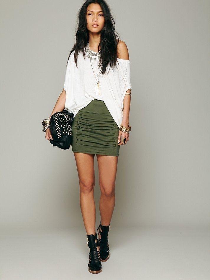 da082b412e NWOT  48 Free People High Waist Scrunch Knit Ruched Mini Skirt