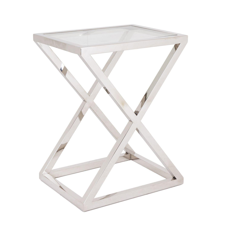 Brooklyn Chunky Chrome U0026 Glass Side Table