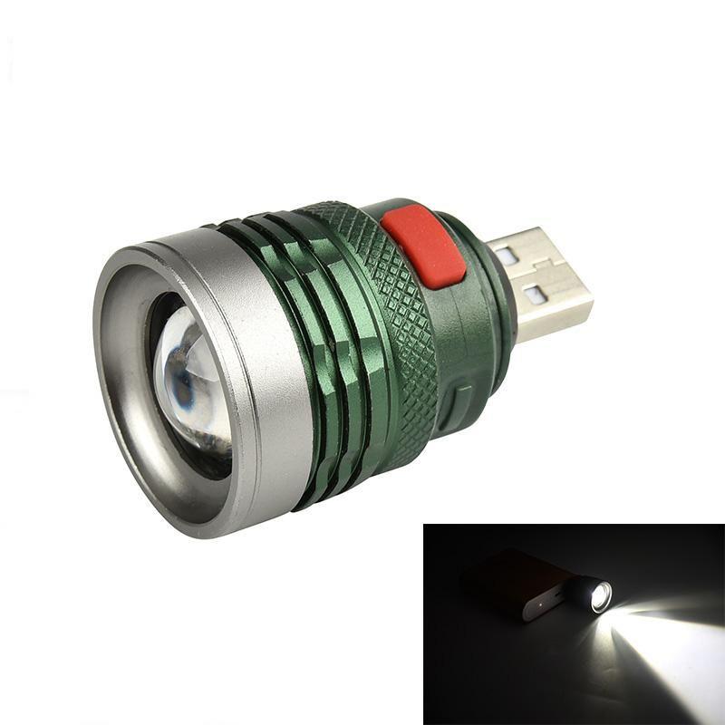 Mini LED Light USB Recharge Flashlight Lamp Pocket Keychain Torch Waterproof DE