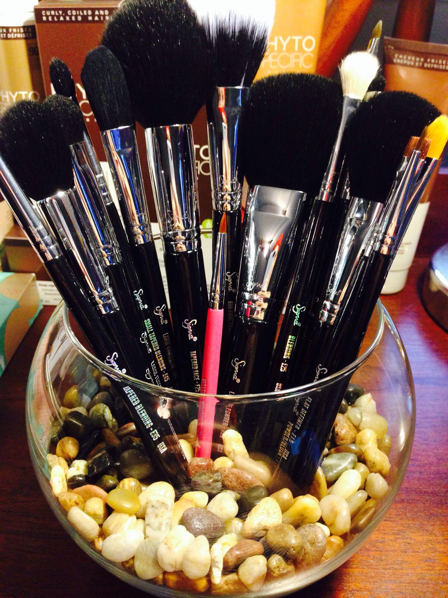 I use rocks in my bowl w my makeup brushes.   Nail polish ...