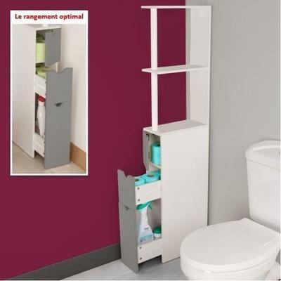 Meuble WC étagère bois blanc/gris - Achat / Vente colonne - armoire
