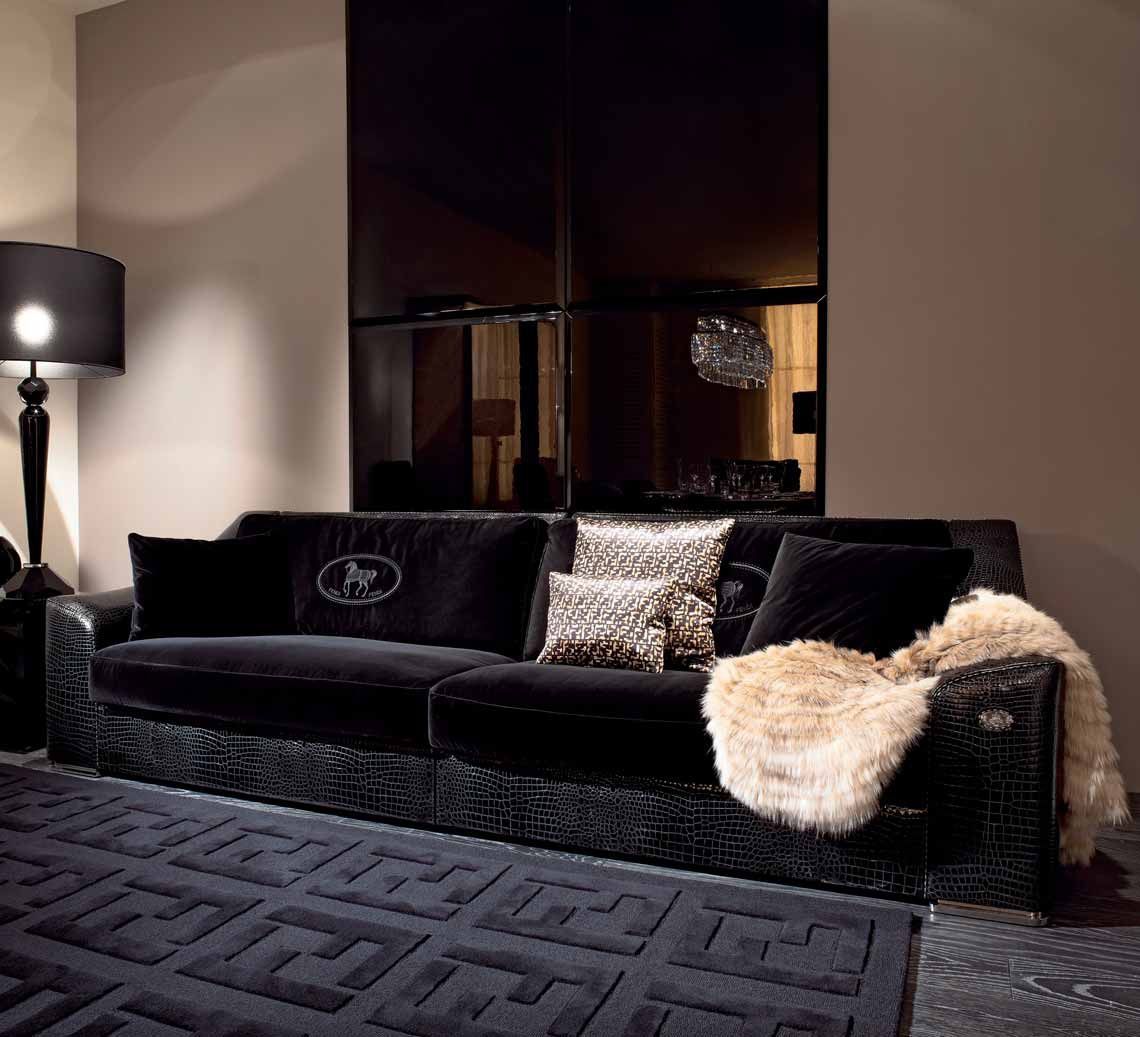 Four Seater Sofa Opera With A Frame Made Of Natural Wood Fendi  # Muebles Fendi Casa