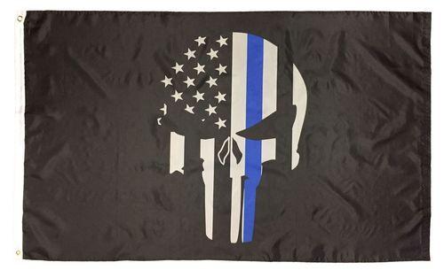 Police Punisher Skull Thin Blue Line Flag 3x5 Thin Blue Line Flag Blue Line Flag Skull Flag