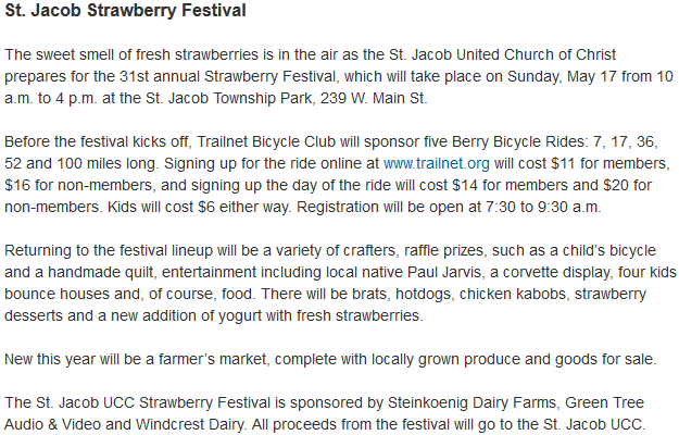 St. Jacob Strawberry Festival, Sunday, May 17, 10a-4p. St Jacob Township Park, 239 W Main St http://www.bnd.com/2015/04/23/3779969/st-jacob-marine-news-for-the-week.html