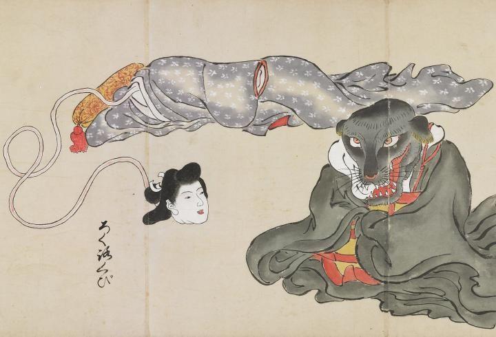 """ろくろくび『化物尽絵巻』北斎季親 Rokurokubi from """"Bakemono-Zukushi-Emaki"""", HOKUSAI Suechika"""