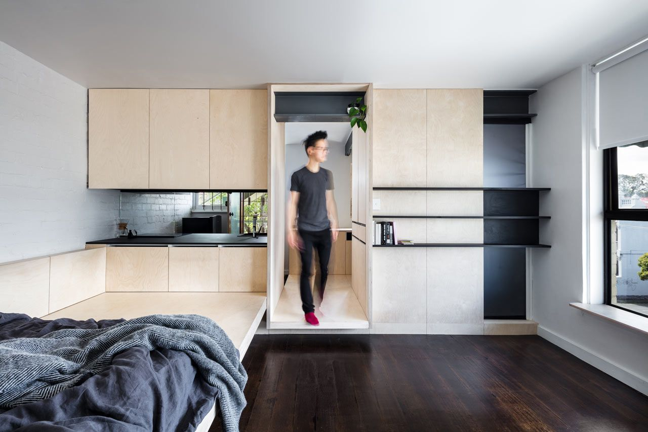 Located in Fitzroy, Melbourne, Australia, George is a 28 square meter micro apartment that was renovated by J-IN with a monochromatic color palette and plenty of storage.