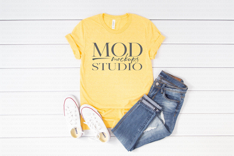 Download Free Bella Canvas 3001 T Shirt Mockup Tee Mockup Heather Yellow Psd Mockup Psd For Free Download Now And Use Th Clothing Mockup Shirt Mockup Mockup Free Psd