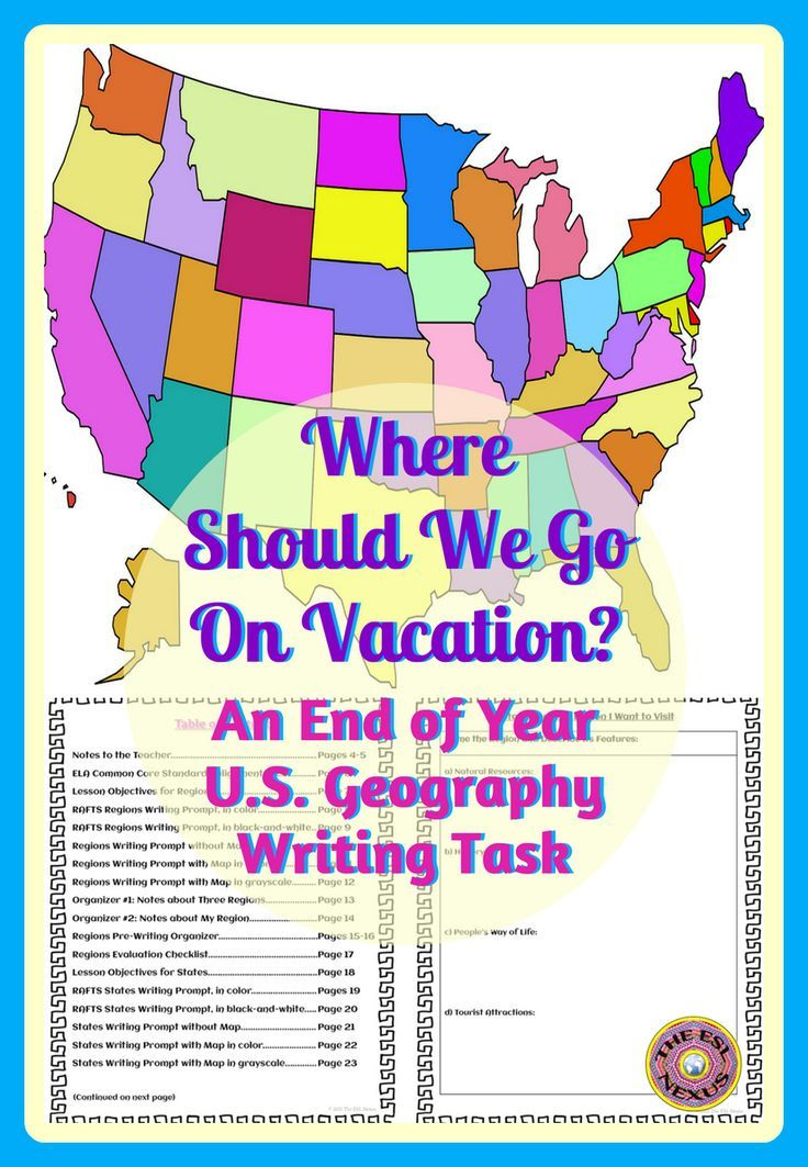 End of Year US Geography Persuasive Writing Activity Graficky