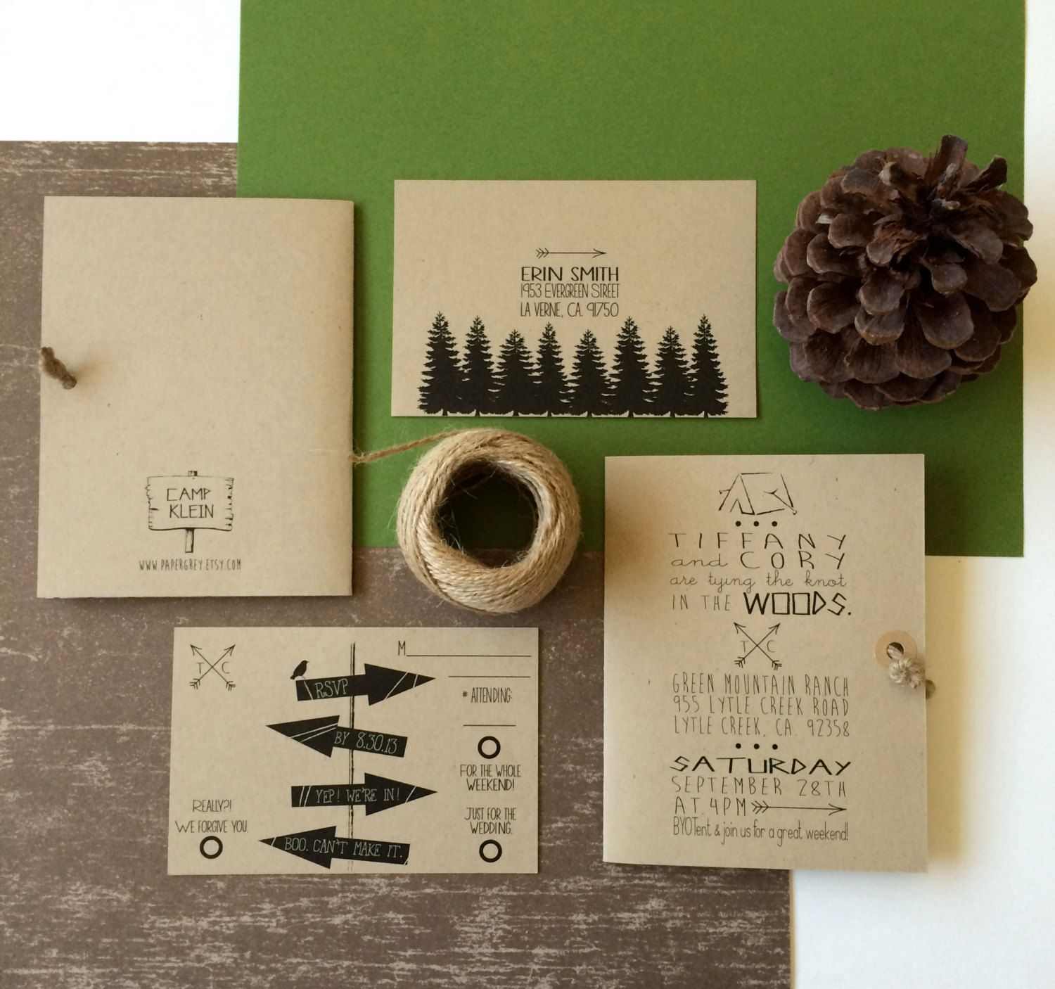Clever card - maybe for welcome amenity?  Woodsy, Rustic Invitation. Twine Knot. Camping Invitation. Kraft Invitation. Forest. Arrows. Tie the Knot. We are tying the knot. by PaperGrey on Etsy