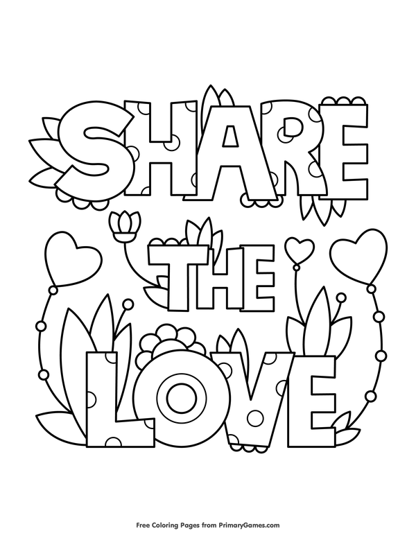 Share The Love Coloring Page Free Printable Ebook Love Coloring Pages Valentine Coloring Pages Coloring Pages