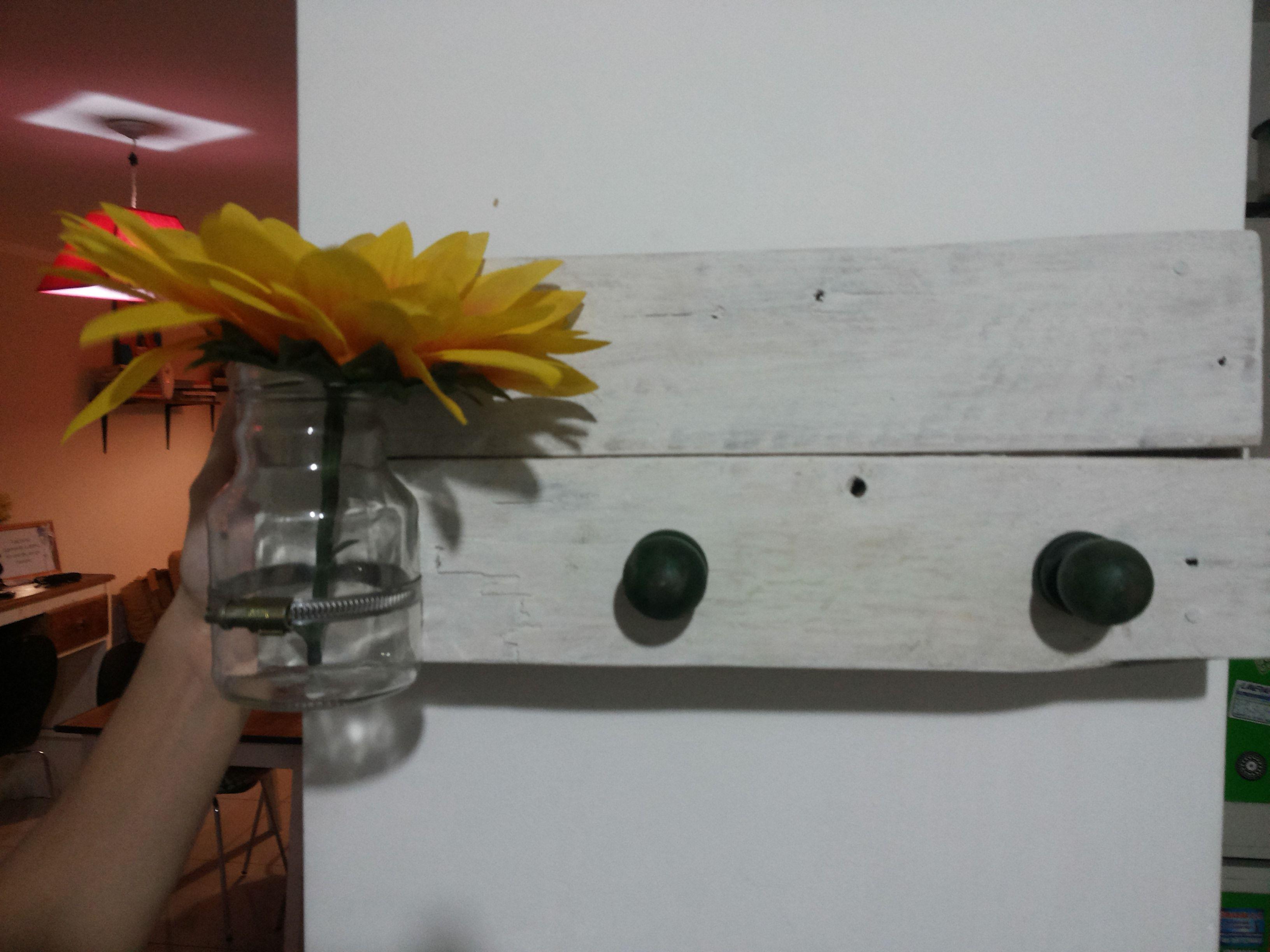 Perchero, Maderas, Frascos, Flores!