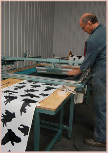 Robert Hamlin-Wright hand screen printing wallpaper for Paperboy Interiors