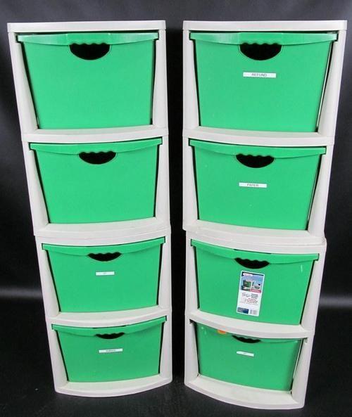 Lot (4) Sterilite 2-Drawer Storage Drawers Recycling Center #3520 ...