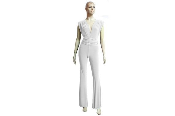 57a201cec8a5 Wedding Jumpsuit Infinity White Overall Convertible Romper Plus Size Multi  Way Flare Pants