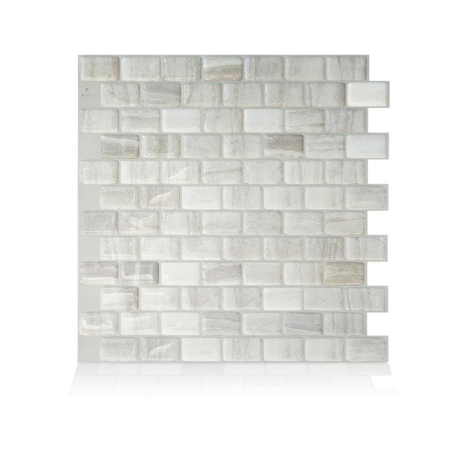 Smart Tiles 4 Pack White Taupe Tan Beige 10 In X 10 In Composite Vinyl Peel And Stick Tile Common 10 In X 10 I Smart Tiles Vinyl Wall Tiles Stick On Tiles