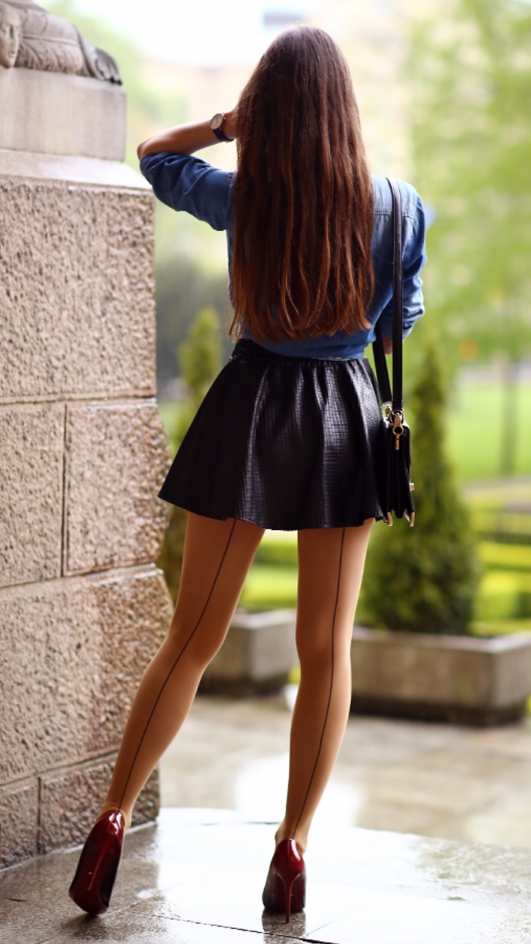 shirt leather skirt flesh colored tights with seam