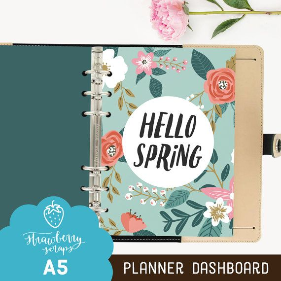 """Planner dashboard A5: """"HELLO SPRING"""" A5 planner, Planner A5, A5 dashboard, Inspirational, Quote, Printable planner dividers, Filofax, Spring"""
