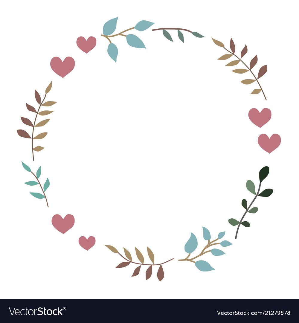 Photo of Doodle heart and leaf circle frame Royalty Free Vector Image