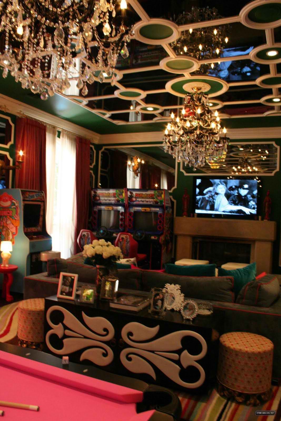 Glam game room pink pool table chandeliers mirrored ceiling pink pool table chandeliers mirrored ceiling fresh white roses arubaitofo Images