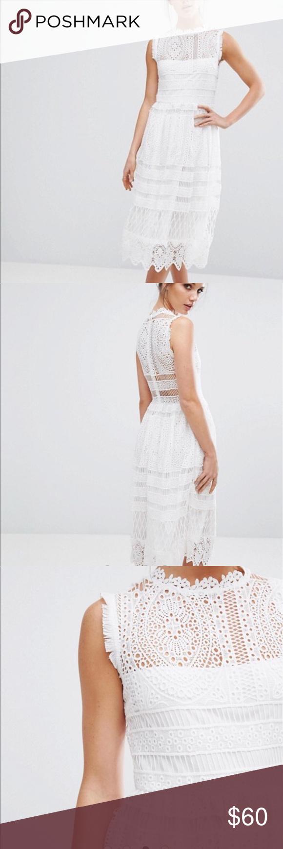 Asos white boho lace dress lace midi dress lace dress and midi