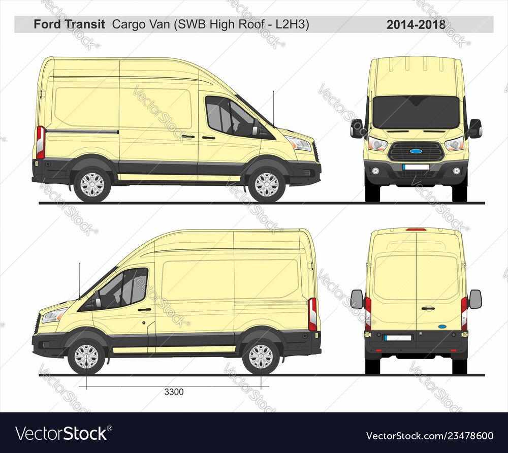 Ford Transit Cargo Delivery Van L2h3 2014 2018 Vector Image On