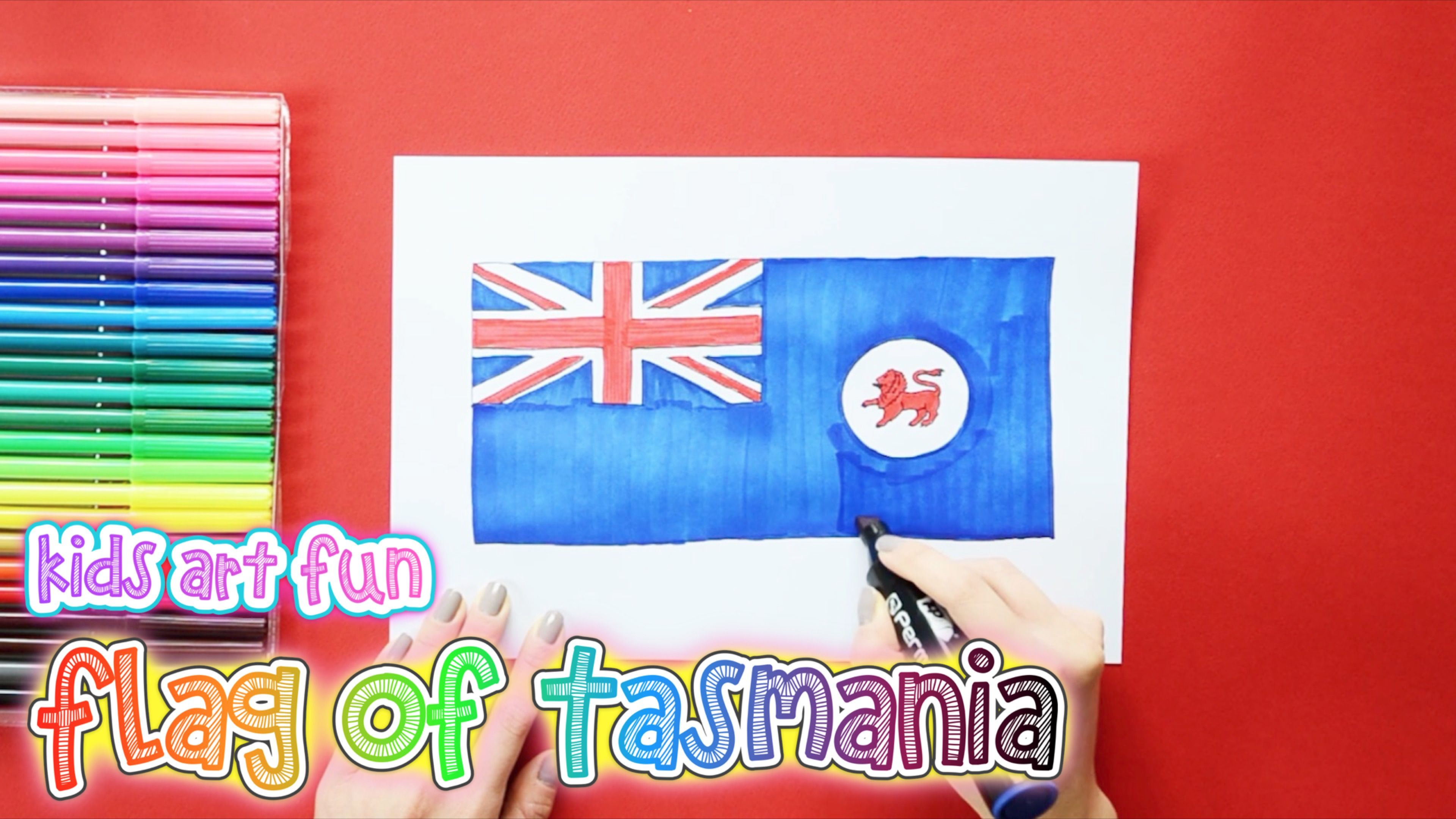 How To Draw And Color The Flag Of Tasmania Art For Kids Drawings Flag