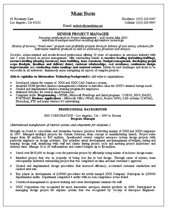 Free Senior Operations Executive Resume -    wwwresumecareer - program manager resume sample