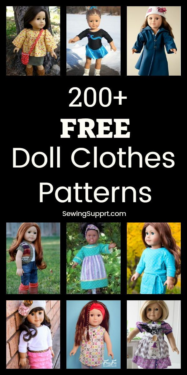 220+ Free Doll Clothes Patterns - 18 inch American Girl #dolldresspatterns