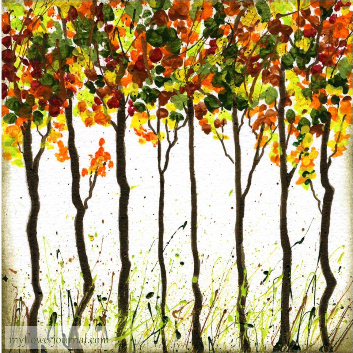 Ideas to create beautiful Fall Foliage Art using a brush or your finger to  dab paint