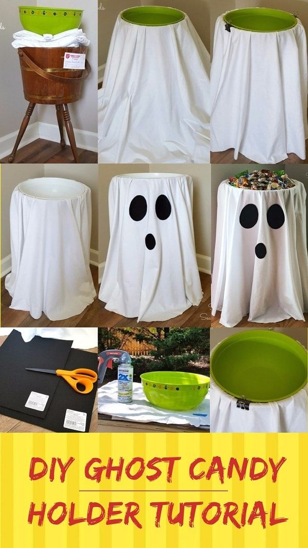 Easy and Cheap DIY Halloween Project DIY Ghost Candy Holder - halloween diy crafts