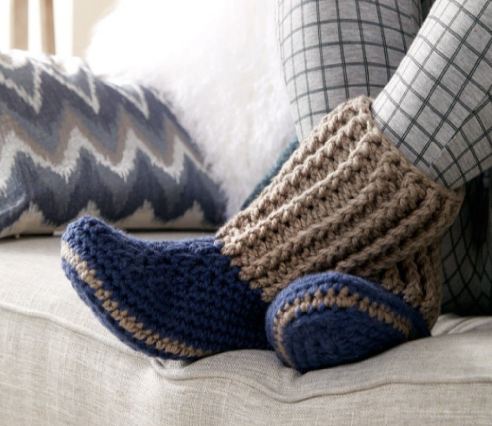 Slipper socks from bernat free crochet patern warm facebook intermediate pattern for all crochet lovers warm cute and snuggly slippers this pattern bankloansurffo Choice Image