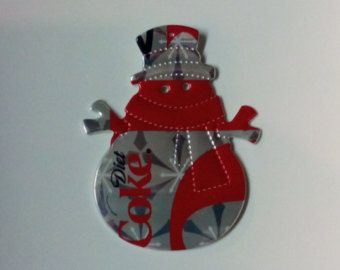 Items similar to SNOWMAN ORNAMENT from recycled can on Etsy