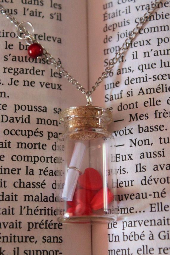 Flacon En Verre Collier I Love You Saint Valentin cadeau pour sa copine Collier