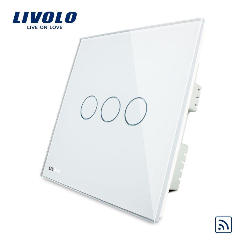 Livolo, Remote Switch, UK standard, VL-C303R-61, Wholesaler Livolo Ivory White Crystal Glass Panel, Wireless Remote Touch Switch
