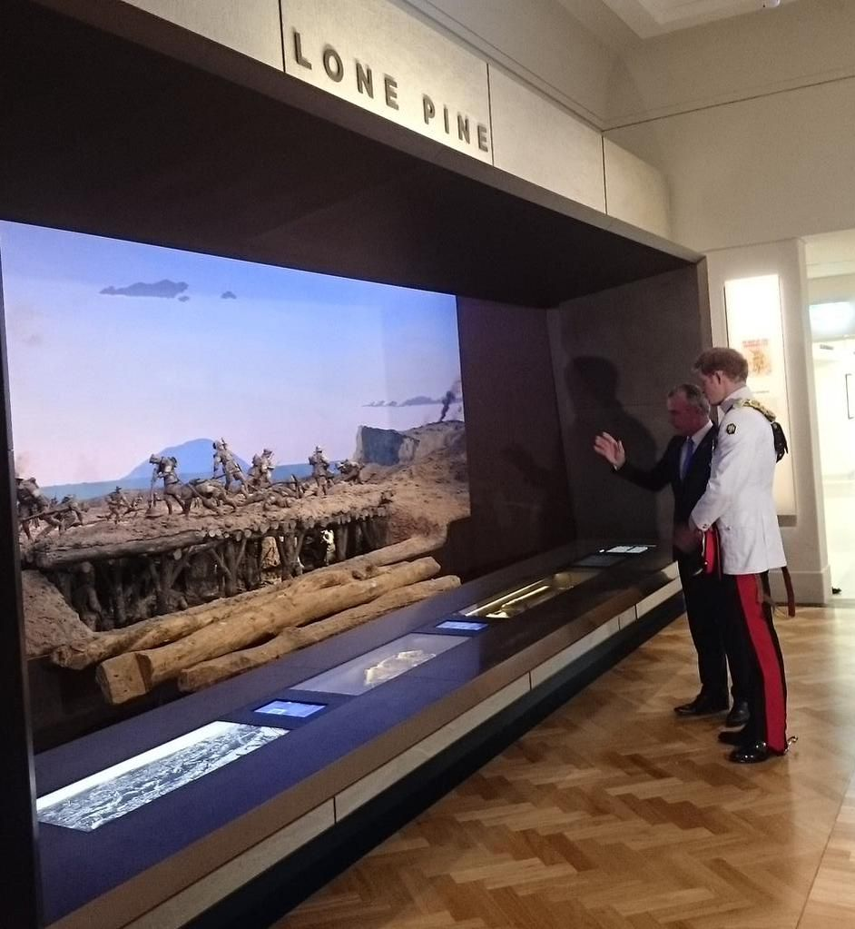 HRH views the Lone Pine exhibit in the First World War Gallery