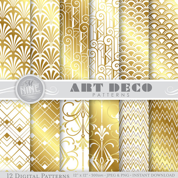 Art deco livre num rique or et blanc art d co mod les - Deco digital plus ...