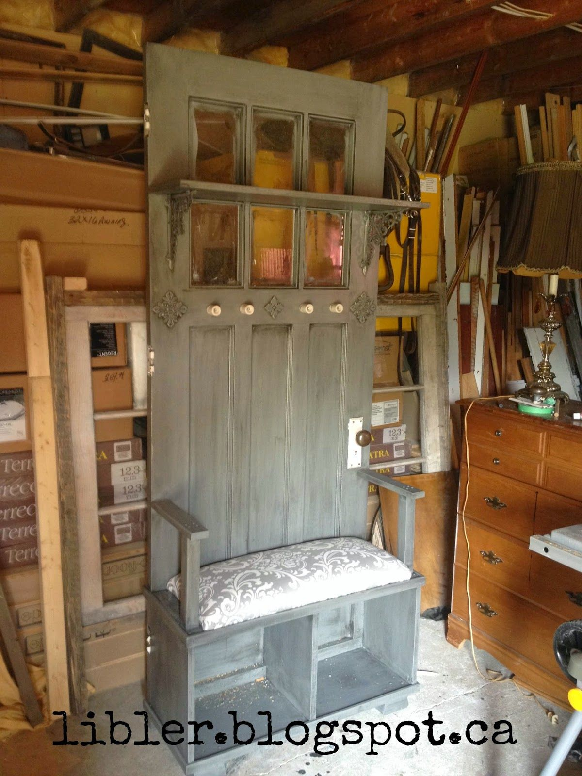 Delightful MacGIRLver: A Different Bench Made From An Old Door; A Hall Tree