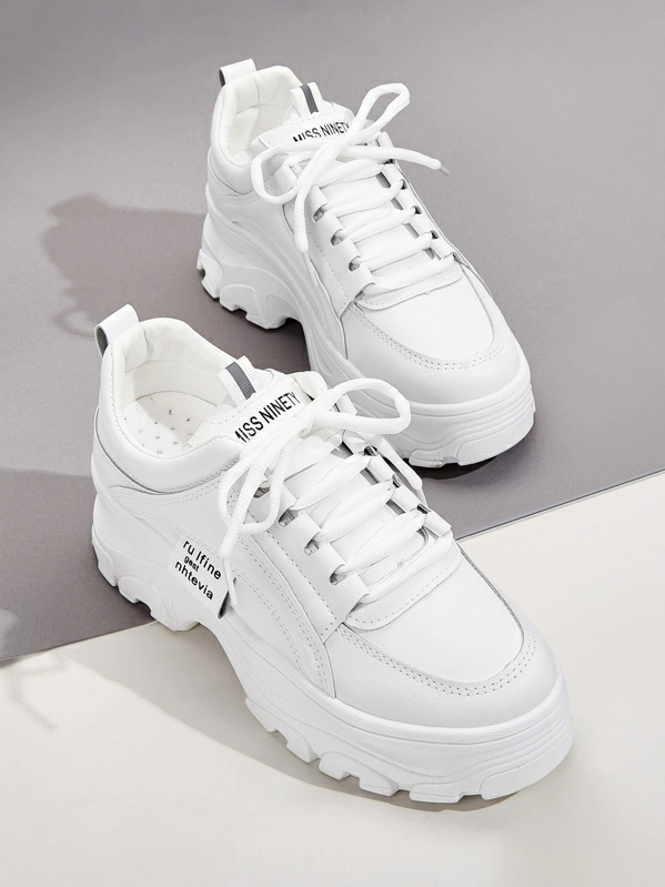 Lace-up Front Chunky Sneakers   SHEIN