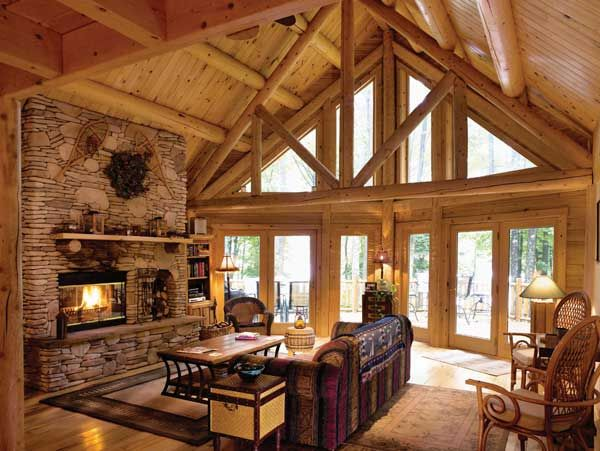 Cabin Interior Living Room Design The Ideas Log Cabin