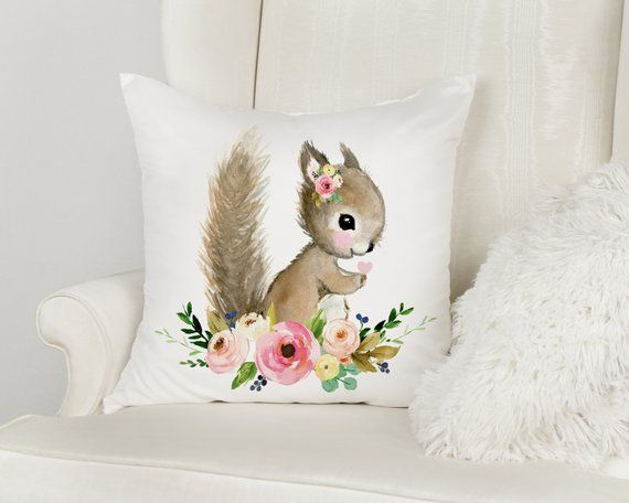 Woodland nursery decor, Baby squirrel pillow, squirrel cusion, woodland baby shower gift, baby girl room design, animal pillow squirrel