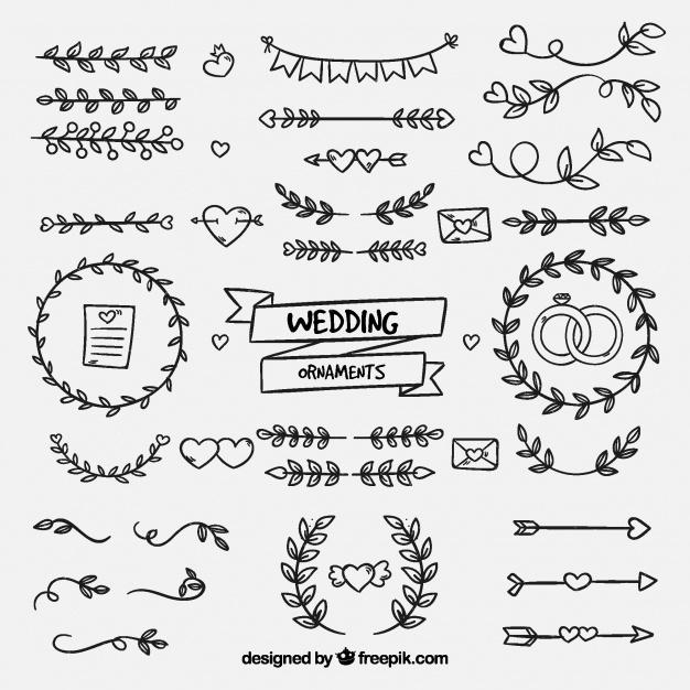 Hand Drawn Wedding Ornaments Vector Free Download Wedding Ornament How To Draw Hands Bullet Journal Ideas Pages