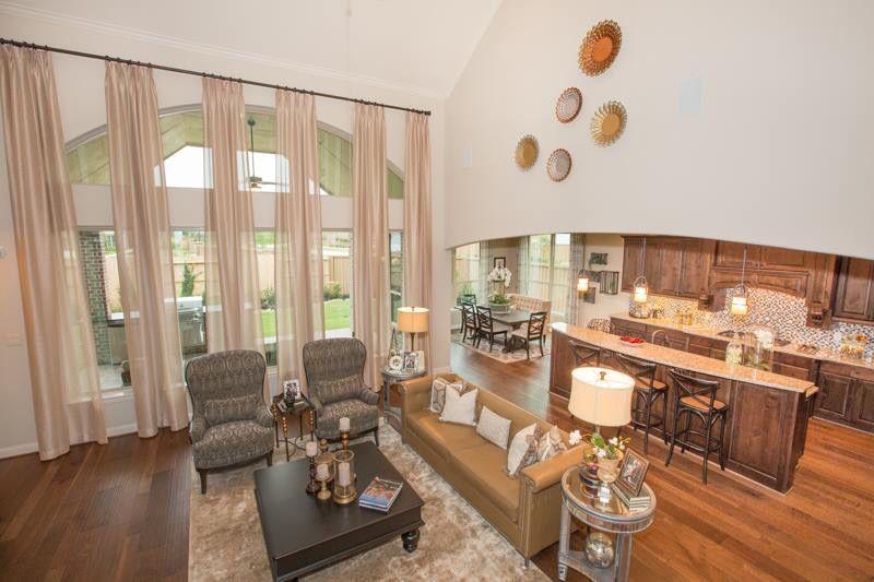 warm color scheme kitchen with open floor plan  custom