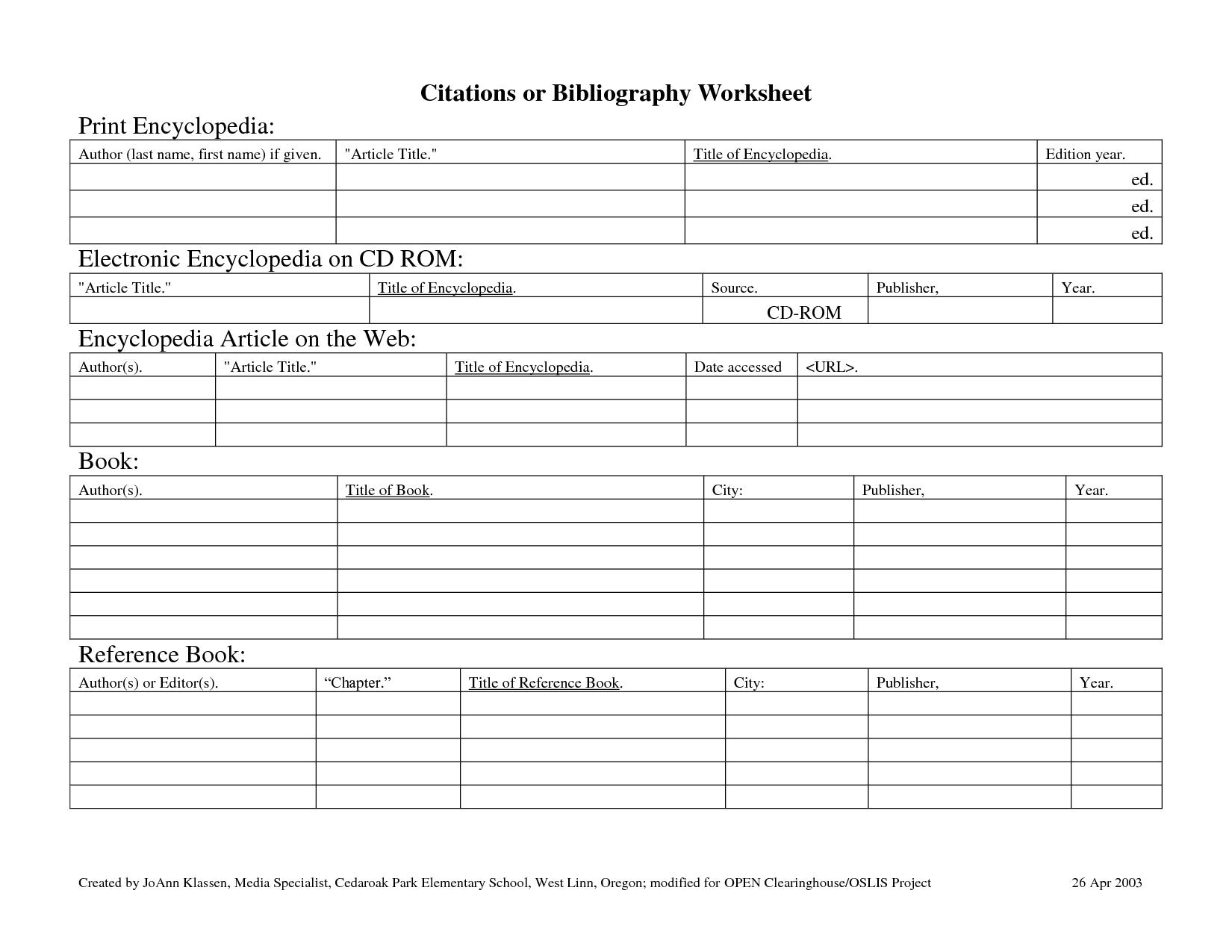 Bibliography Template Worksheet