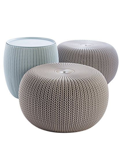 Keter Urban Knit Pouf Ottoman Set of 2 with Storage Table for Patio Decor, Dune/Misty Blue Keter