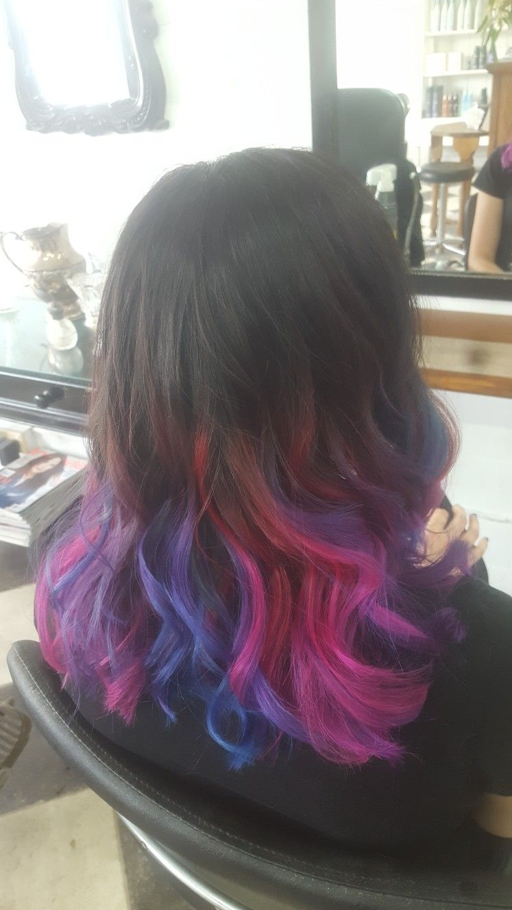 Pink Blue And Purple Ombre Hair Pink Purple Hair Purple Ombre Hair Blue Hombre Hair