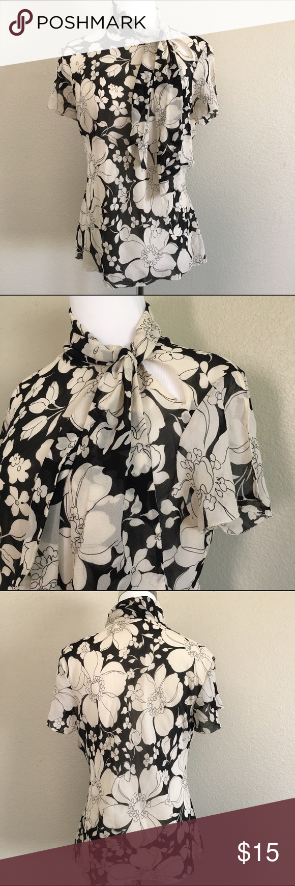 Black & Cream Floral Print Blouse. A nice elegant looking Banana Republic cream & black floral print. Size Large (a bit smaller so can fit a Medium). Shell 100% Silk, Lining 100% Polyester. In great condition. Banana Republic Tops Blouses