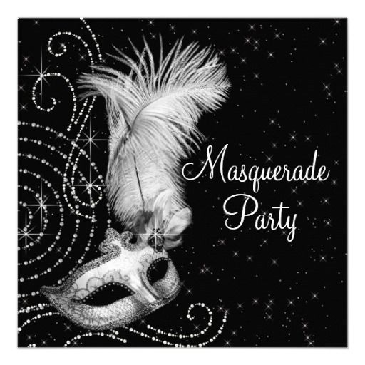 Elegant Black And White Masquerade Party Invitations Gorgeous - Party invitation template: masquerade party invitation template