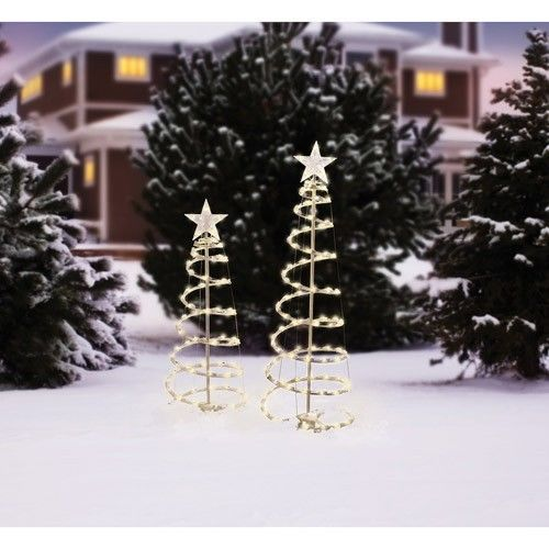 christmas outdoor decoration 2 piece yard lighted spiral electric decor trees christmasoutdoordecoration